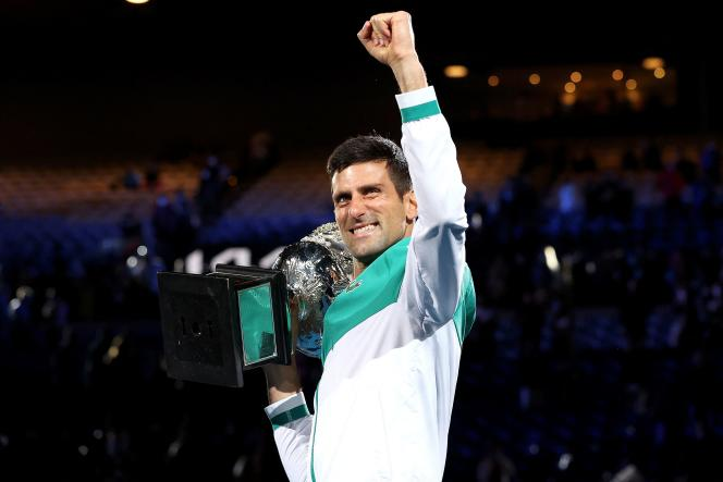 Novak Djokovic celebrates his victory at the Australian Open in Melbourne on February 21, 2021.