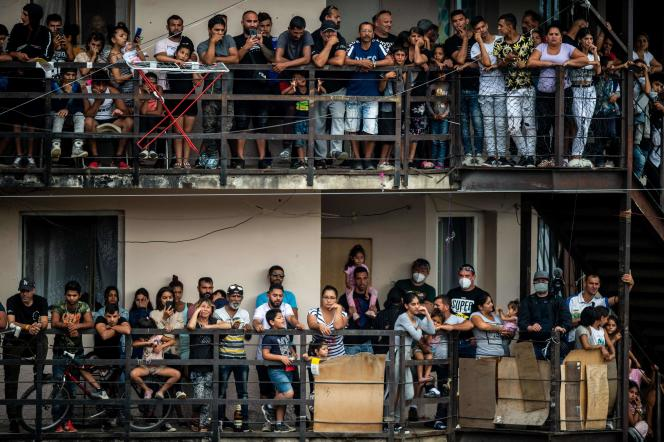 Roma people in the Lunik IX ghetto in Kosice, Slovakia await the arrival of Pope Francis on September 14, 2021.